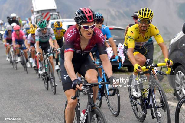 Geraint Thomas of United Kingdom and Team INEOS / Julian Alaphilippe of France and Team Deceuninck - Quick-Step Yellow Leader Jersey / during the...