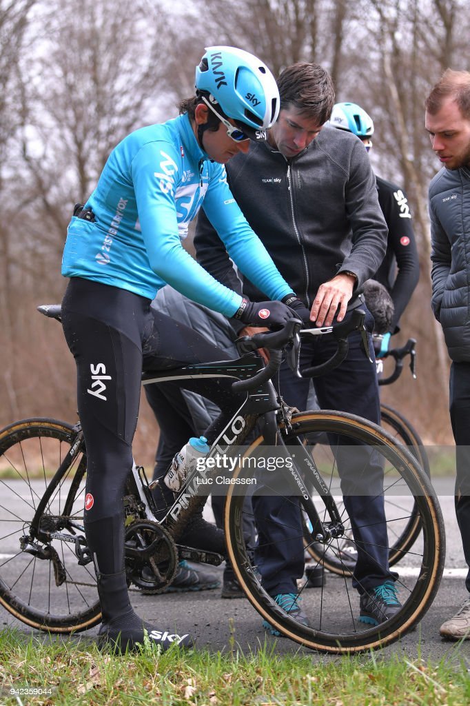 Geraint Thomas of United Kingdom and Team Sky / during training of 116th Paris to Roubaix 2018 on April 5, 2018 in Arenberg, France.