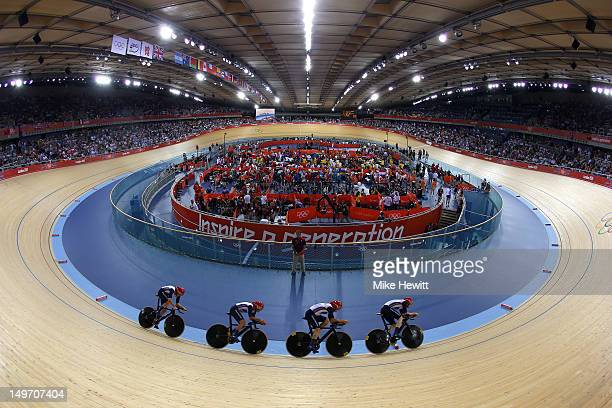 Geraint Thomas Steven Burke Edward Clancy and Peter Kennaugh of Great Britain compete in the Men's Team Pursuit Track Cycling first round on Day 6 of...