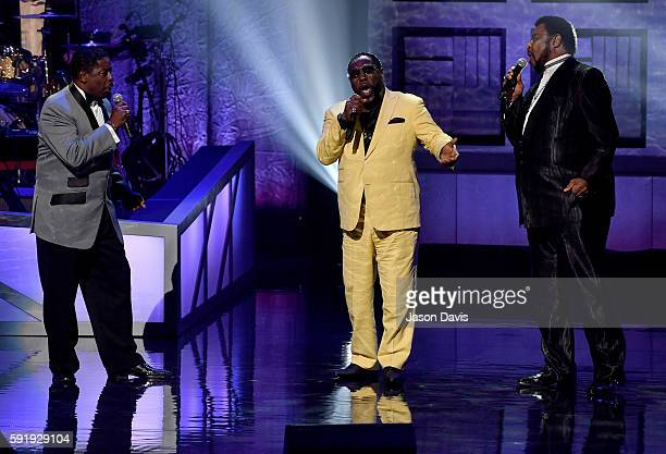 Gerald Alston, Eddie Levert, and Dennis Edwards perform during the NMAAM 2016 Black Music Honors on August 18, 2016 in Nashville, Tennessee.