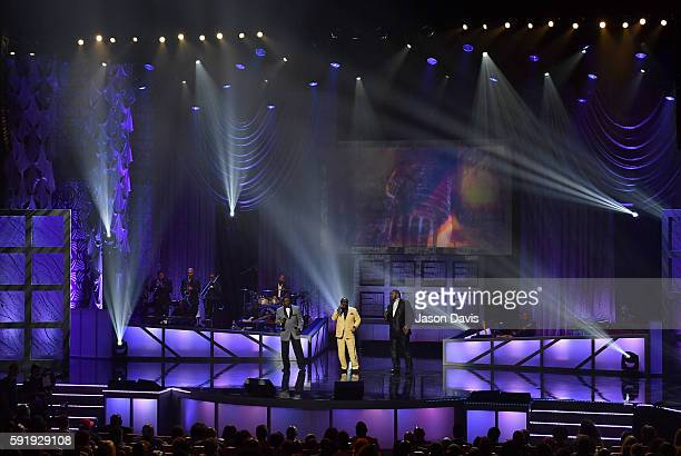 Gerald Alston Eddie Levert and Dennis Edwards perform during the NMAAM 2016 Black Music Honors on August 18 2016 in Nashville Tennessee