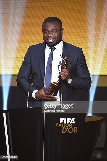 Gerald Asamoah accepts the FIFA Fair Play award on behalf of all football organisations supporting refugees during the FIFA Ballon d'Or Gala 2015 at...