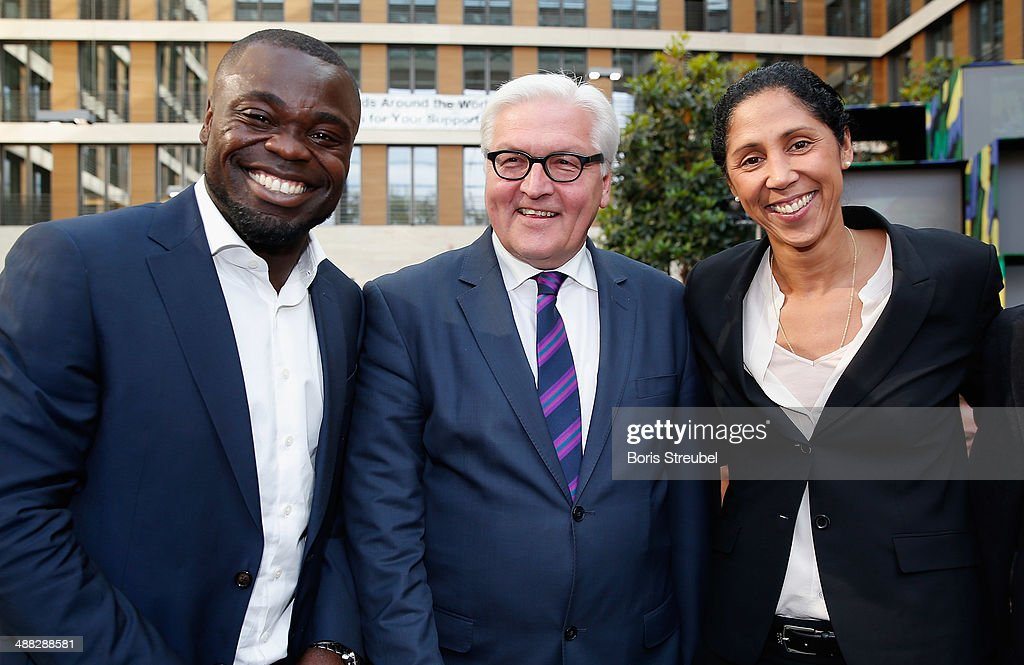 Gerald Asamoah, Foreign minister Frank-Walter Steinmeier and Steffi Jones, Director of German Football Association (DFB) pose during the German Football Ambassador 2014 Award ceremony at The Federal Foreign Office on May 5, 2014 in Berlin, Germany.