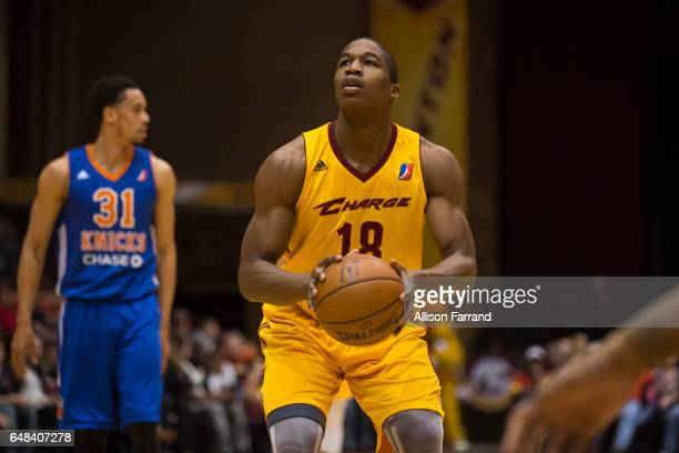 Gerald Beverly of the Canton Charge shoots a free throw against the Westchester Knicks at the Canton Memorial Civic Center on March 5 2017 in Canton...
