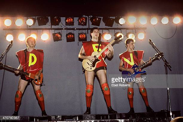 Gerald Casale Bob Casale Bob Mothersbaugh performing with DEVO at Asbury Park in New Jersey on July 19 1980