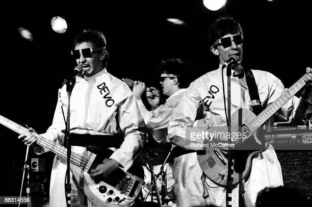 Gerald Casale Mark Mothersbaugh and Bob Casale of Devo perform live at The Old Waldorf Nightclub in 1978 in San Francisco California