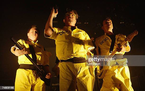 Gerald Casale Mark Mothersbaugh and Bob Mothersbaugh of electronic newwave pioneers Devo perform during their first UK show for 17 years at the Royal...