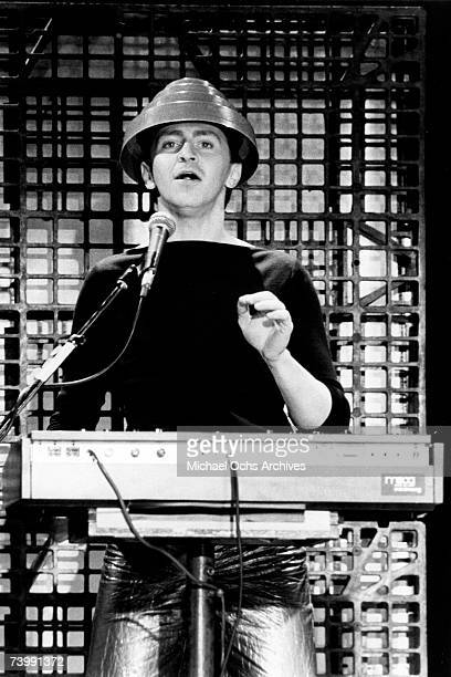 Gerald Casale of the new wave punk music group Devo performs onstage in circa 1979 in Los Angeles California