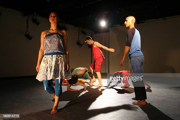 Gerald Casel Dance performing Border at Joyce SoHo on Wednesday night May 14 2008This imageStanding from left Naye Kim Timothy Harvey and Paul Singh