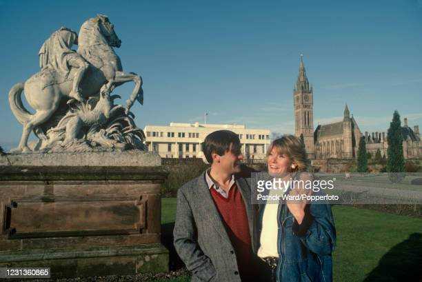 Gerald Cavendish Grosvenor, 6th Duke of Westminster, and his wife Natalia Grosvenor, with Eaton Hall, its Chapel and stable block in the background,...