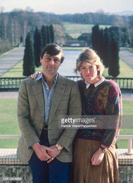 Gerald Cavendish Grosvenor, 6th Duke of Westminster, and his wife, the Duchess, Natalia Grosvenor, overlooking the gardens of Eaton Hall near...