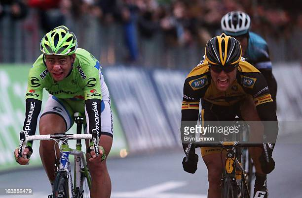 Gerald Ciolek of Germany and MTN Qhubeka reacts to winning after beating beat Peter Sagan of Slovakia and Canondale across the finish line during the...