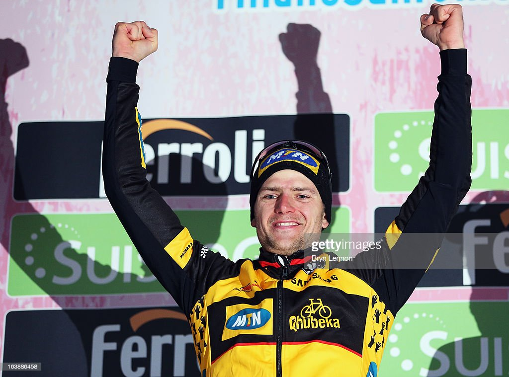 Gerald Ciolek of Germany and MTN Qhubeka stands on the podoium to celebrate winning the 2013 Milan - San Remo on March 17, 2013 in San Remo, Italy.