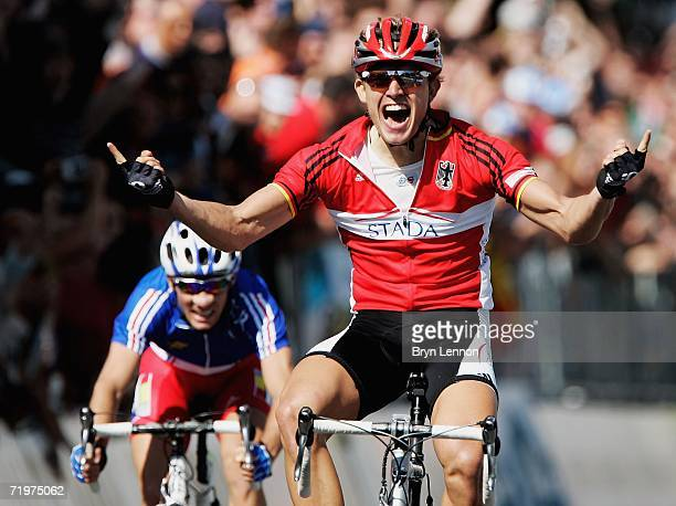 Gerald Ciolek of Germany crosses the line to win the U23 Men's Road Race, in the 2006 UCI Road World Championships, on 23 September 2006, in...