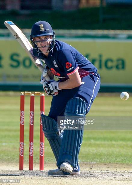 Gerald Coetzee of South Africa bowling to Harry Brook of England during the U/19 Tri Series match between South Africa and England at Senwes Park on...