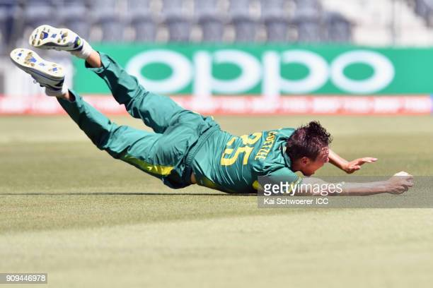 Gerald Coetzee of South Africa takes a catch to dismiss Ammad Alam of Pakistan during the ICC U19 Cricket World Cup match between Pakistan and South...