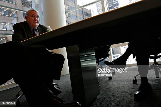 E Gerald Corrigan managing director of Goldman Sachs Co and former president of the Federal Reserve Bank of New York speaks during a meeting in New...