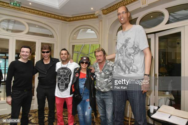 Gerald Dahan David Donadei Grichka Bogdanoff Laam Richy and Brahim Takioullah attend Citestars Press Conference at Hotel Saint Petersbourg on May 22...