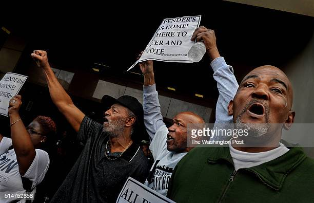 Gerald Dent who served 41 years in prison joined James Featherstone and Niles Ringgold at the rally for felon voting rights They chanted 'We want to...