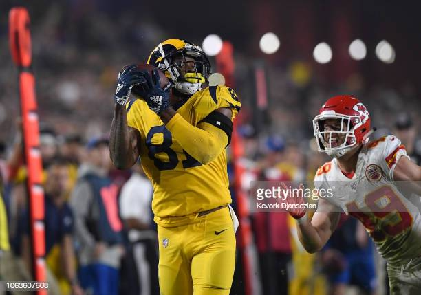 Gerald Everett of the Los Angeles Rams makes a touchdown catch during the fourth quarter of the game against the Kansas City Chiefs at Los Angeles...