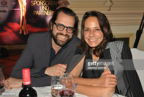 Gerald Fleischhacker and Beatrix Kopf-Bilgeri pose during the Romy 2018 Academy Award at Grand Hotel on April 5, 2018 in Vienna, Austria.