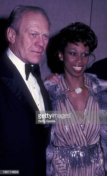 Gerald Ford and Altovise Davis attend Frank And His Friends Valetine LoveIn II on February 12 1983 at the Canyon Hotel in Palm Springs California