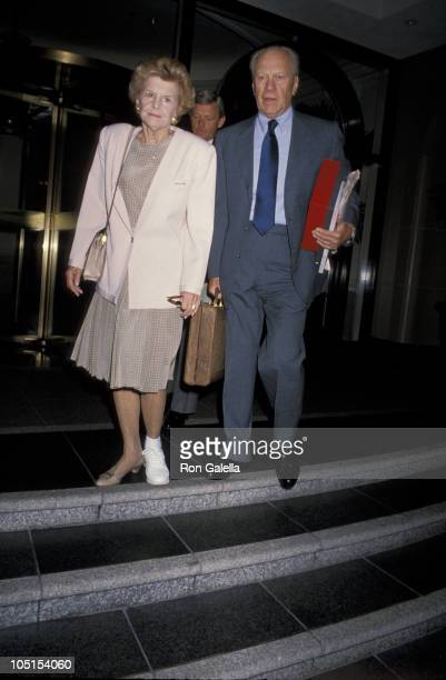Gerald Ford and Betty Ford during Gerald and Betty Ford Leave Hotel And Head To Palm Springs at Beverly Wilshire Hotel in Beverly Hills CA United...