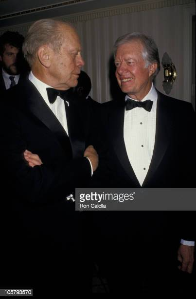 Gerald Ford and Jimmy Carter during Humanitarian Awards Dinner November 23 1987 at Waldorf Astoria Hotel in New York City New York United States