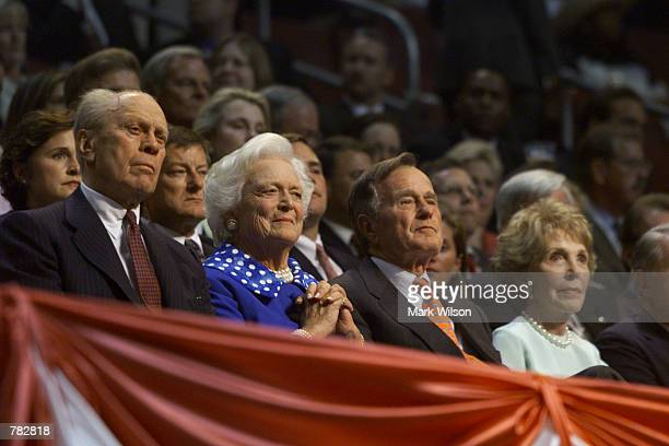 Gerald Ford Barbara Bush George Bush and Nancy Reagan listen to speakers during the second day of the Republican National Convention August 1 2000 in...