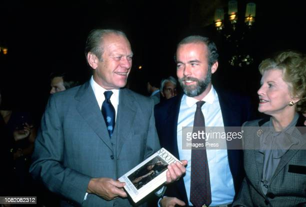 Gerald Ford David Hume Kennerly and Betty Ford attends the party for his Kennerly's photography book 'Shooter' on October 17 1979 at Luchow's...