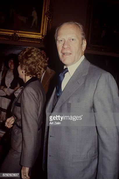 Gerald Ford with Betty Ford in the background circa 1970 New York