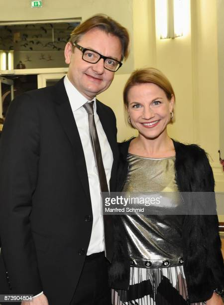Gerald Gerstbauer and Kristina Sprenger pose during the Nestroy Theatre Award at Ronacher Theater on November 13 2017 in Vienna Austria