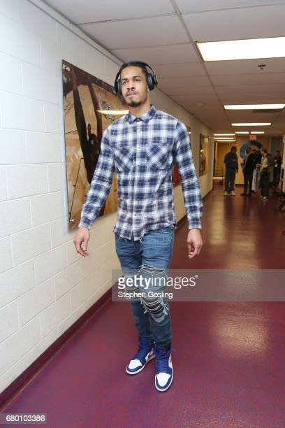 Gerald Green of the Boston Celtics arrives before the game against the Washington Wizards in Game Four of the Eastern Conference Semifinals of the...