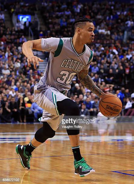Gerald Green of the Boston Celtics dribbles the ball during the second half of an NBA game against the Toronto Raptors at Air Canada Centre on...