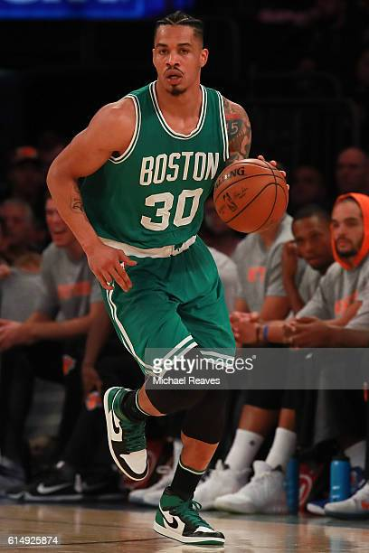 e972f1472e5 Gerald Green of the Boston Celtics dribbles up the court against the New  York Knicks during