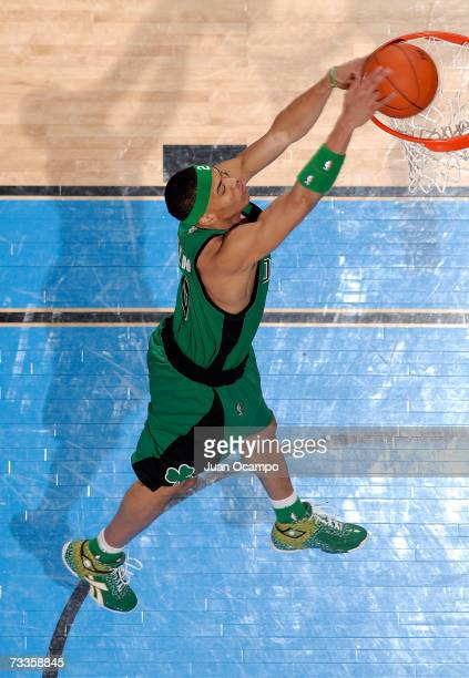 Gerald Green of the Boston Celtics dunks in the Sprite Slam Dunk Competition at NBA All-Star Weekend on February 17, 2007 at the Thomas & Mack Center...