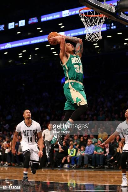 Gerald Green of the Boston Celtics dunks the ball against the Brooklyn Nets at Barclays Center on March 17 2017 in New York City NOTE TO USER User...