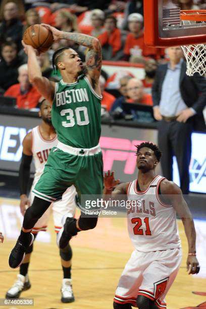 Gerald Green of the Boston Celtics goes up for a dunk against the Chicago Bulls in Game Six of the Eastern Conference Quarterfinals of the 2017 NBA...