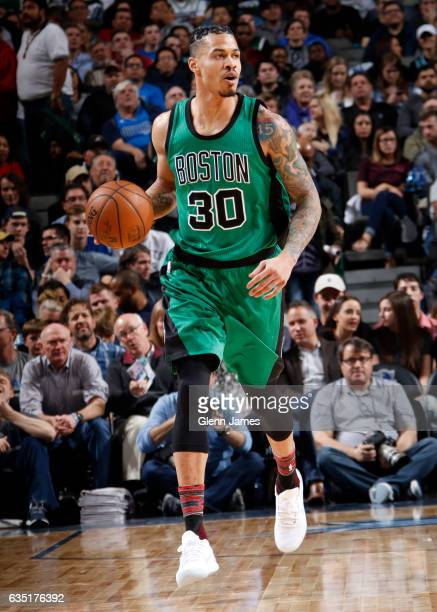 Gerald Green of the Boston Celtics handles the ball during a game against the Dallas Mavericks on February 13 2017 at American Airlines Center in...