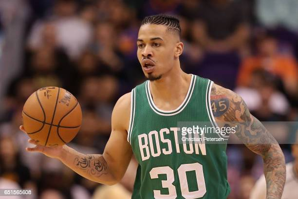 Gerald Green of the Boston Celtics handles the ball during the NBA game against the Phoenix Suns at Talking Stick Resort Arena on March 5 2017 in...