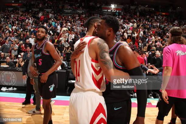 Gerald Green of the Houston Rockets and Dwyane Wade of the Miami Heat hug after the game on December 20 2018 at American Airlines Arena in Miami...