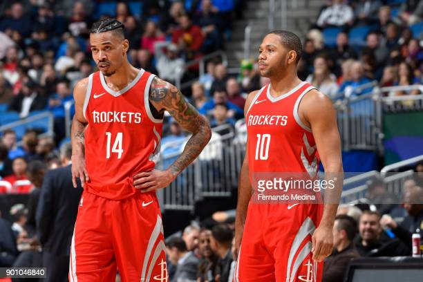 Gerald Green of the Houston Rockets and Eric Gordon of the Houston Rockets look on during the game against the Orlando Magic on January 3 2018 at the...