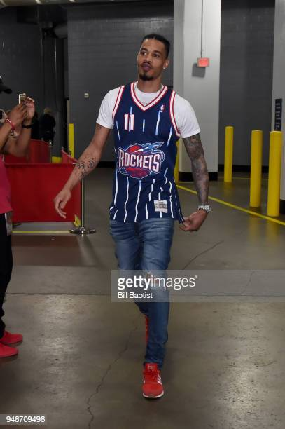 Gerald Green of the Houston Rockets arrives before the game against the Minnesota Timberwolves in Game One of Round One of the 2018 NBA Playoffs on...
