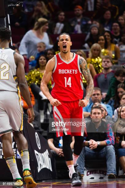 Gerald Green of the Houston Rockets celebrates after scoring during the second half against the Cleveland Cavaliers at Quicken Loans Arena on...