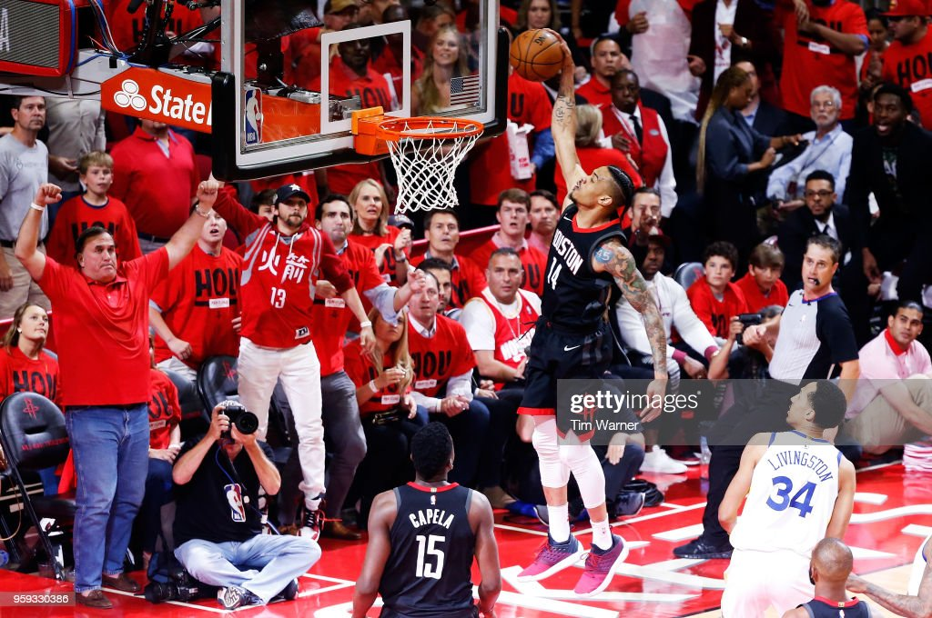 Gerald Green #14 of the Houston Rockets dunks in the first half against the Golden State Warriors of Game Two of the Western Conference Finals of the 2018 NBA Playoffs at Toyota Center on May 16, 2018 in Houston, Texas.