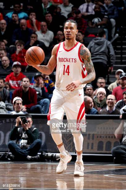 Gerald Green of the Houston Rockets handles the ball against the Brooklyn Nets on February 6 2018 at Barclays Center in Brooklyn New York NOTE TO...