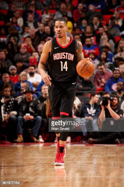 Gerald Green of the Houston Rockets handles the ball during the game against the Detroit Pistons on January 6 2018 at Little Caesars Arena in Detroit...