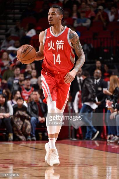 Gerald Green of the Houston Rockets handles the ball during the game against the Dallas Mavericks on February 11 2018 at the Toyota Center in Houston...