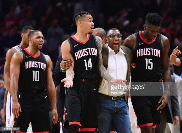 Gerald Green of the Houston Rockets is restrained by an assistant coach during a 113102 LA Clippers win at Staples Center on January 15 2018 in Los...