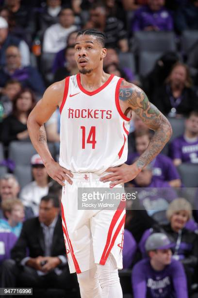 Gerald Green of the Houston Rockets looks on during the game against the Sacramento Kings on April 11 2018 at Golden 1 Center in Sacramento...
